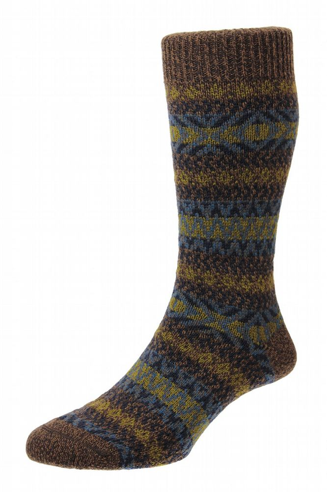 Mens Wool Socks - Country Fairisle - Conker
